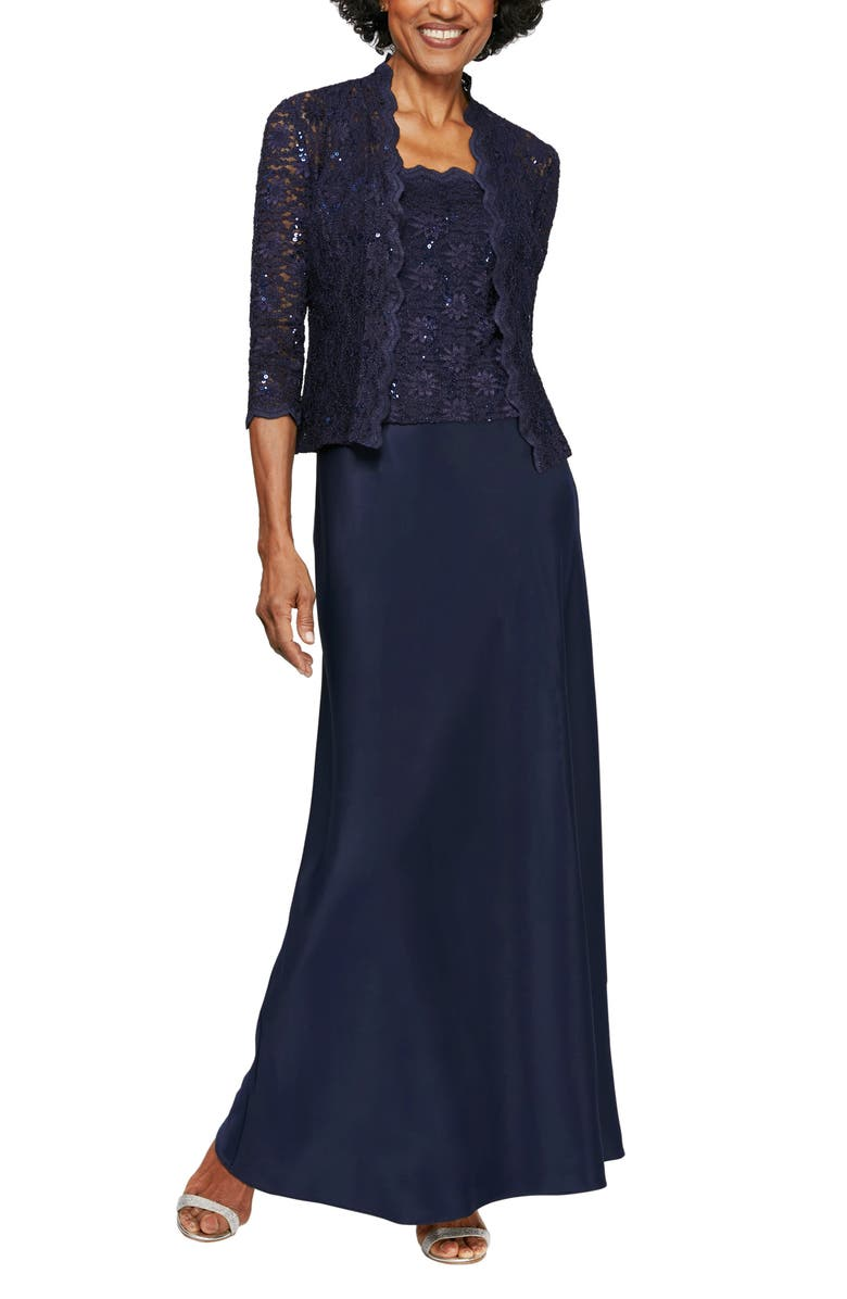 ALEX EVENINGS Sequin Lace & Satin Gown with Jacket, Main, color, 415