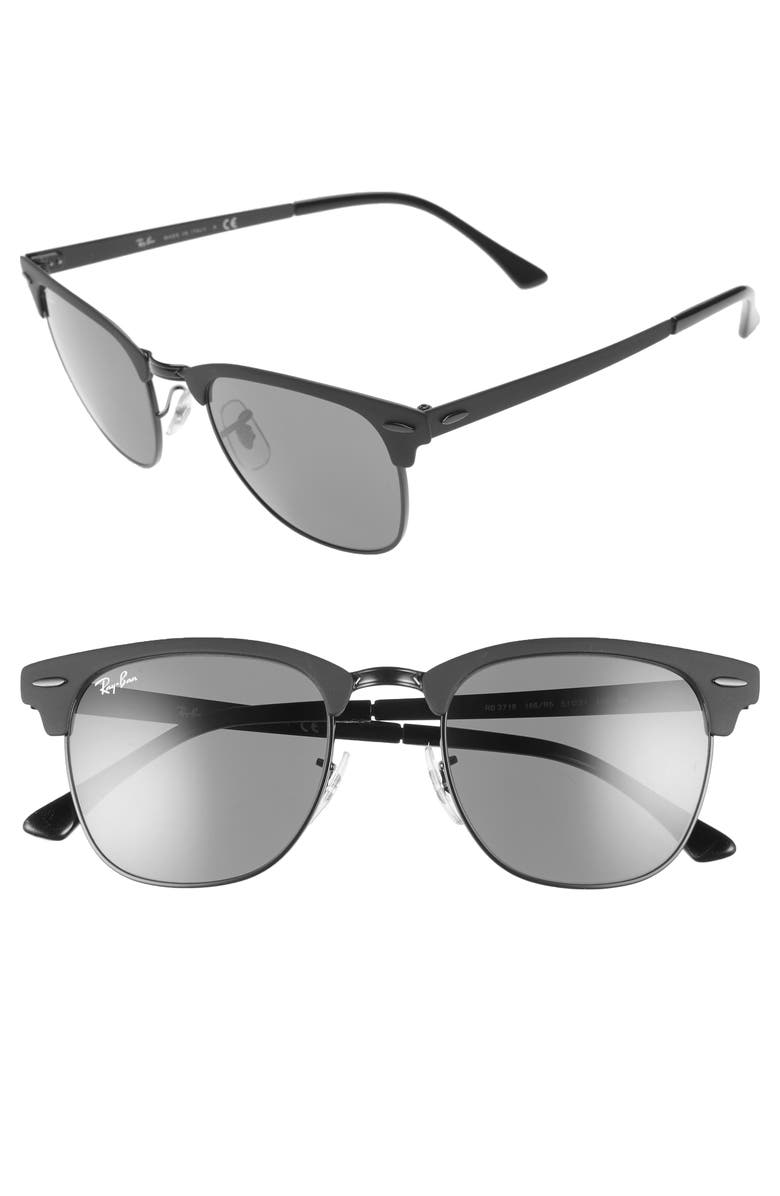 RAY-BAN Clubmaster 51mm Sunglasses, Main, color, SHINY BLACK