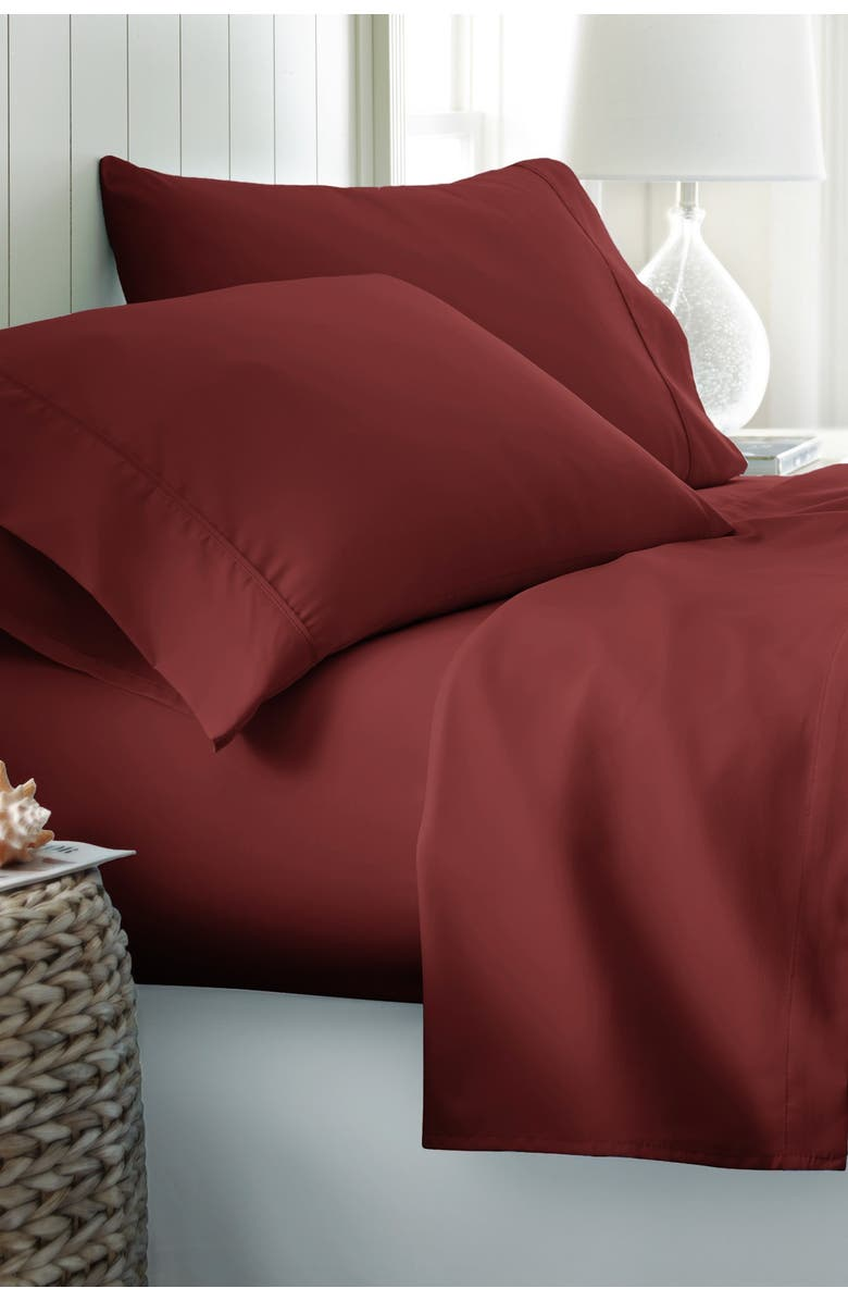 IENJOY HOME California King Hotel Collection Premium Ultra Soft 4-Piece Bed Sheet Set - Burgundy, Main, color, BURGUNDY