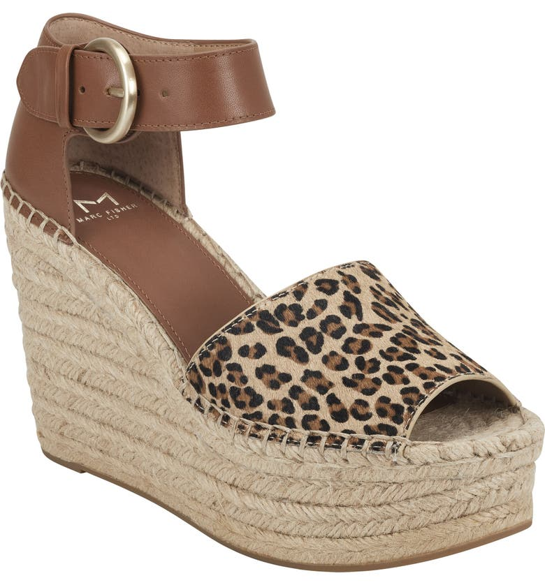 MARC FISHER LTD Alida Espadrille Platform Wedge, Main, color, ANIMAL PRINT CALF HAIR