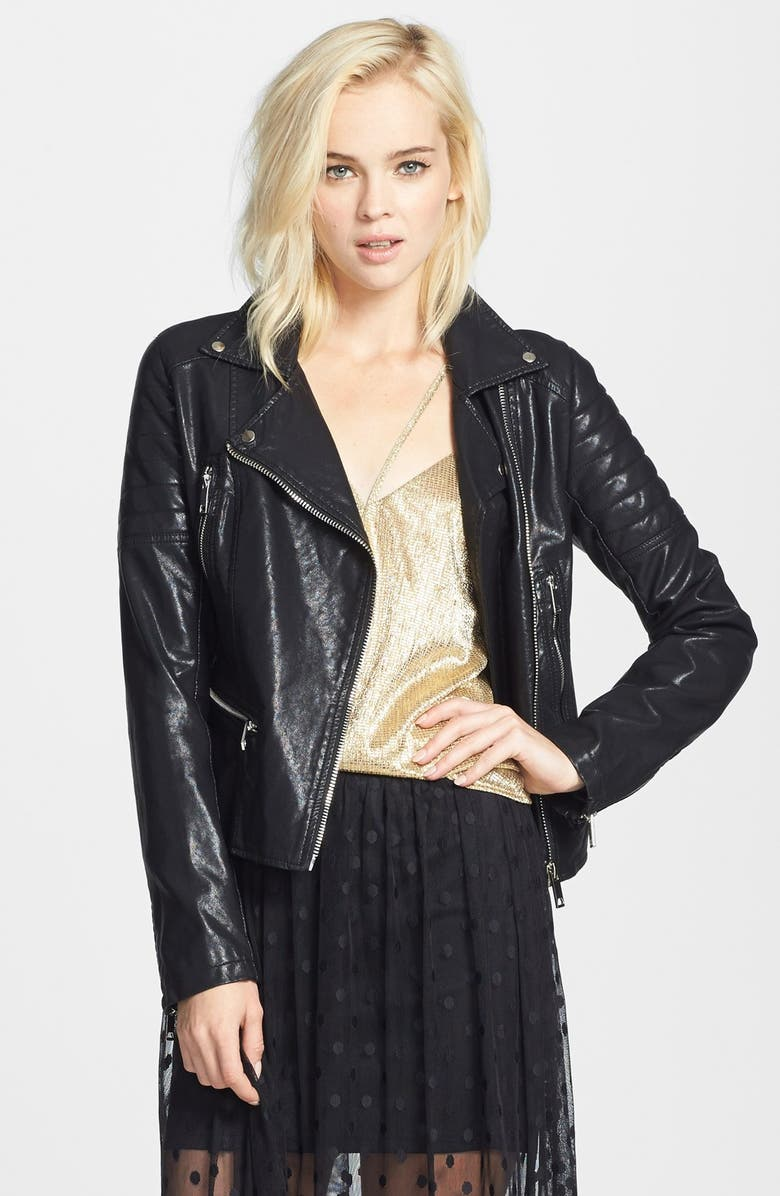 BLANKNYC Quilted Faux Leather Jacket, Main, color, 001