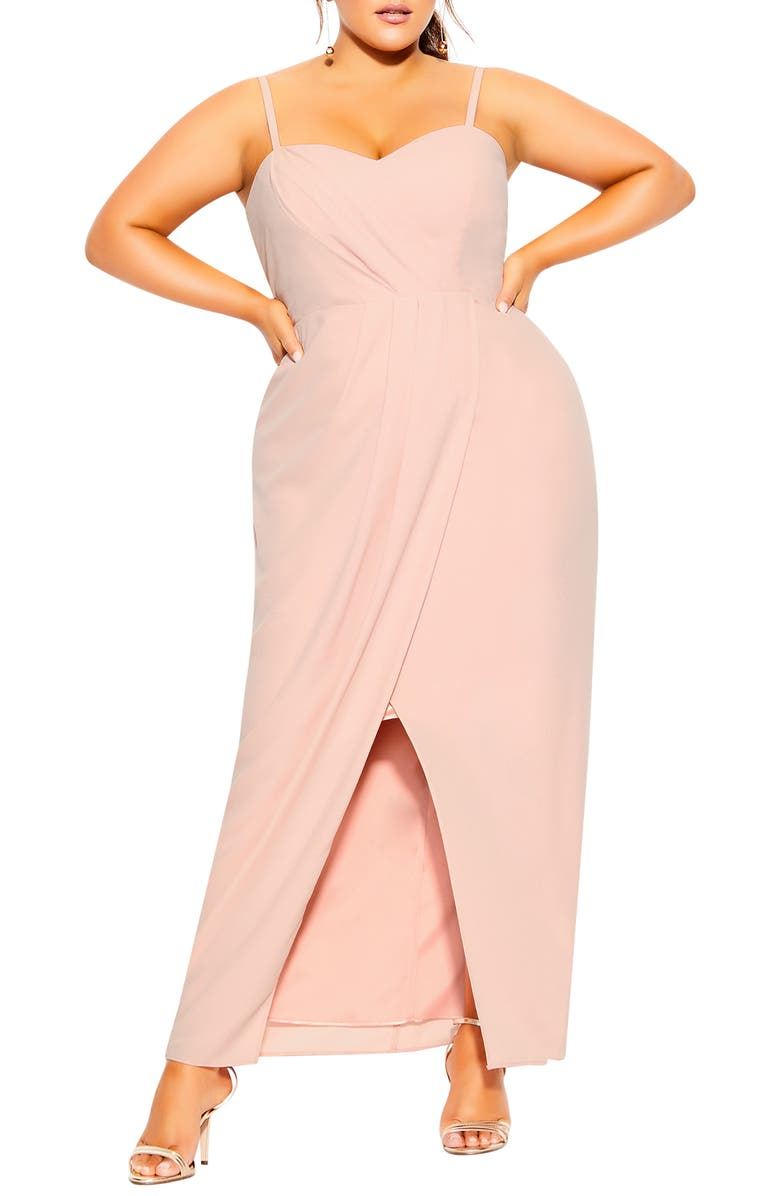 CITY CHIC Drape Sleeveless Maxi Dress, Main, color, BALLET PINK