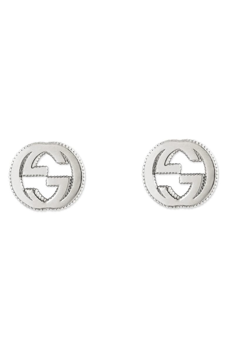GUCCI Silver Interlocking-G Stud Earrings, Main, color, STERLING SILVER