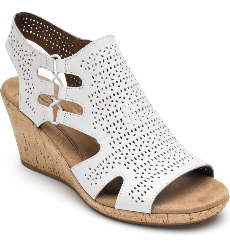 ROCKPORT COBB HILL Janna Perforated Wedge Sandal, Main, color, WHITE LEATHER