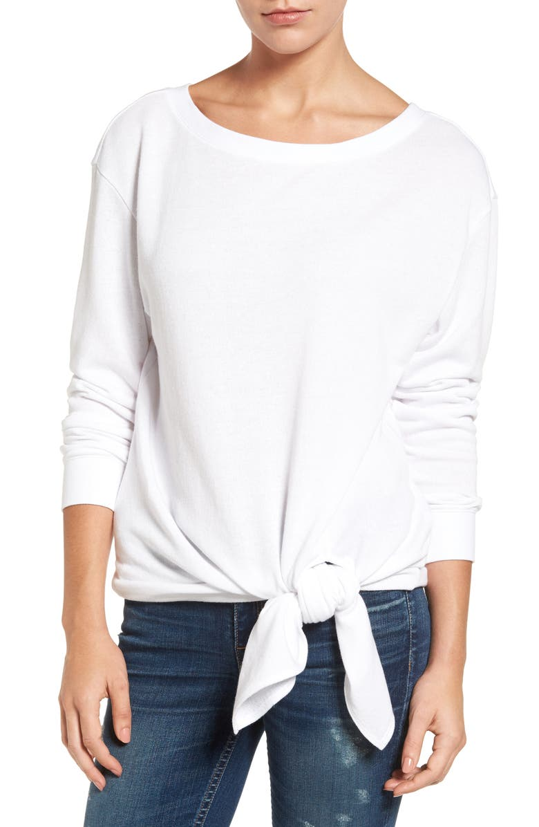 HINGE Tie Front Pullover, Main, color, WHITE