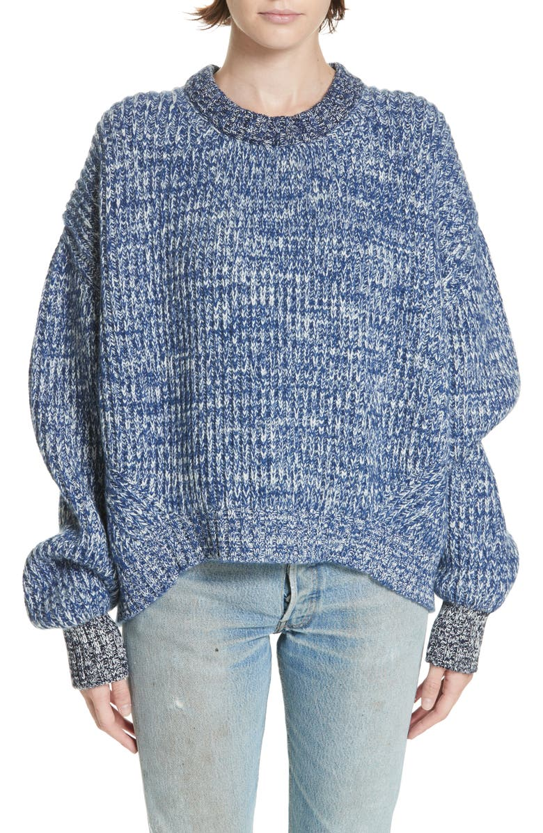 &DAUGHTER Mavie Chunky Wool & Cashmere Sweater, Main, color, BLUE MARL