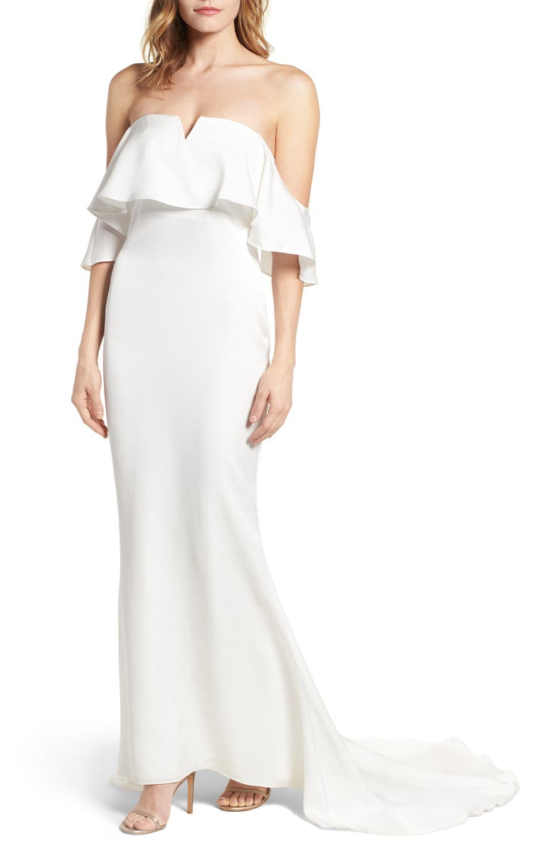 LOVERS + FRIENDS The Santa Barbara Off the Shoulder Gown, Main, color, 100