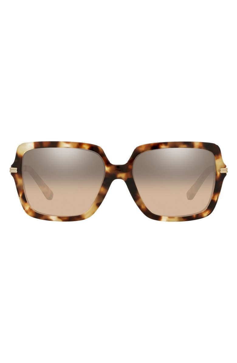 TORY BURCH 54mm Vintage Tortoiseshell Pattern Square Sunglasses, Main, color, VINTAGE TORT/ BROWN SILVER