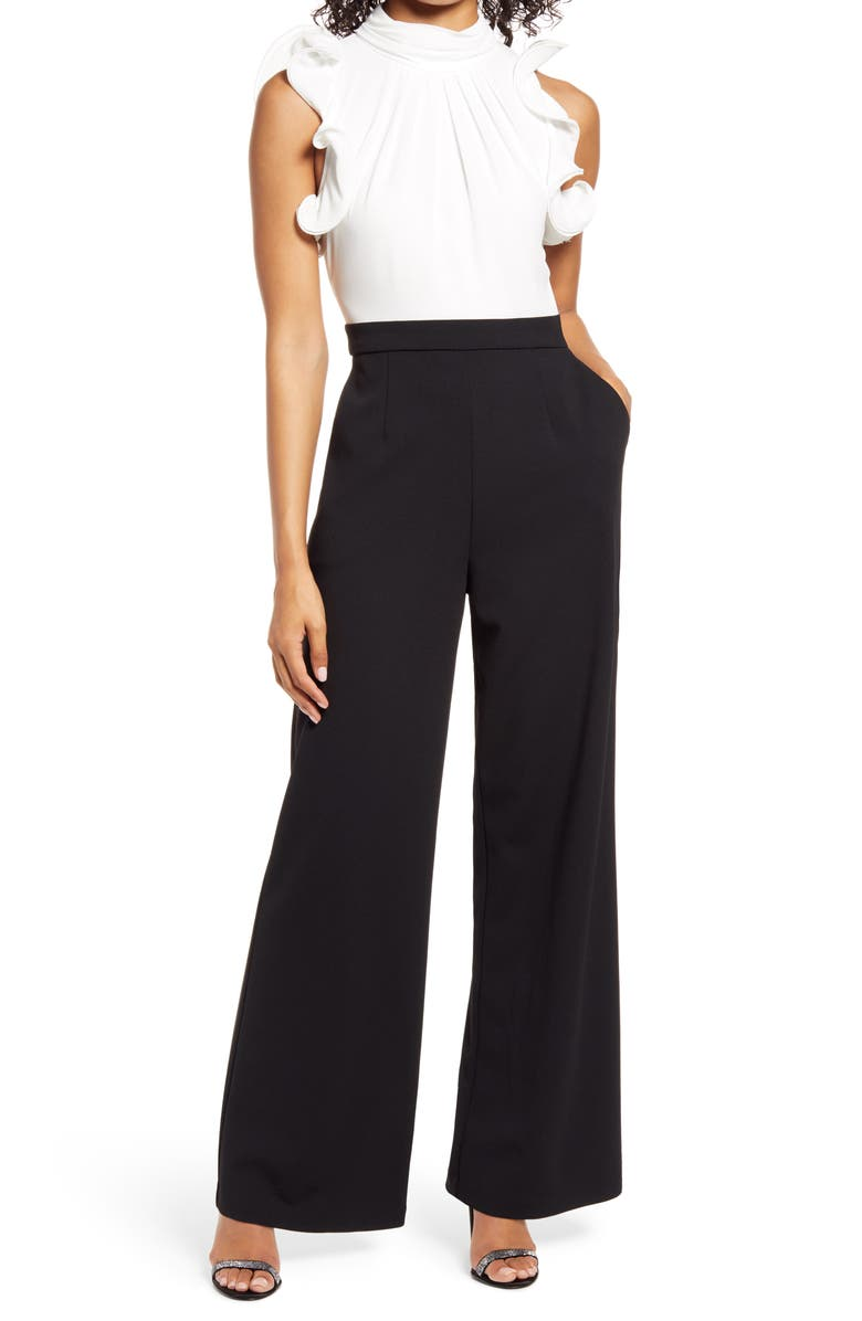 VINCE CAMUTO Ruffle Sleeve Mix Media Jumpsuit, Main, color, BLACK WHITE