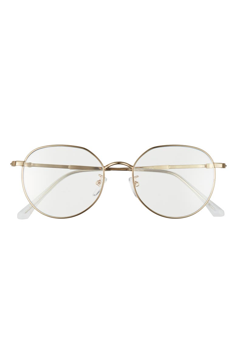 BP. 50mm Round Blue Light Filtering Glasses, Main, color, GOLD
