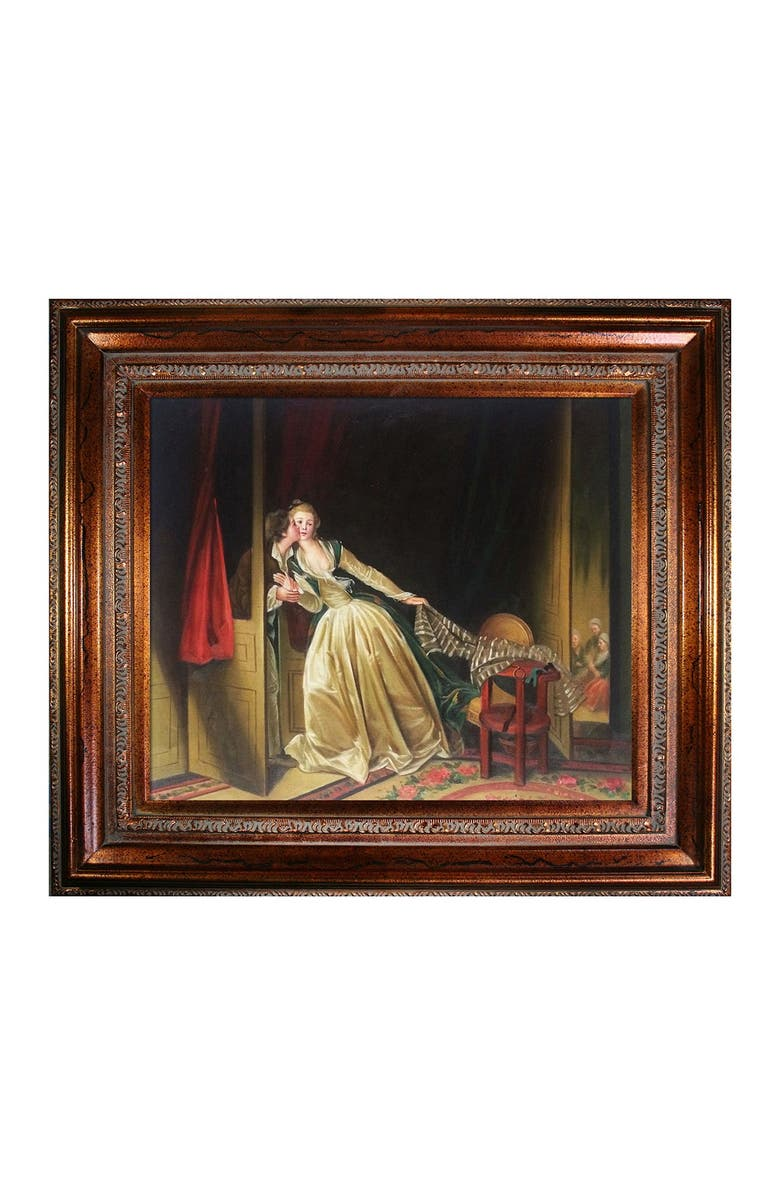 OVERSTOCK ART The Stolen Kiss, late 1780s - Framed Oil Reproduction of an Original Painting by Jean-Honore Fragonard, Main, color, MULTI
