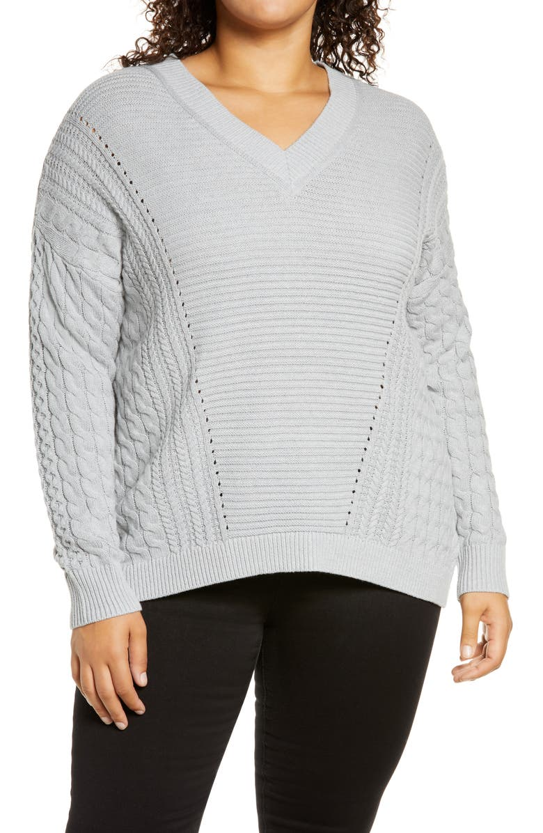 CASLON<SUP>®</SUP> V-Neck Cable Sweater, Main, color, GREY HEATHER