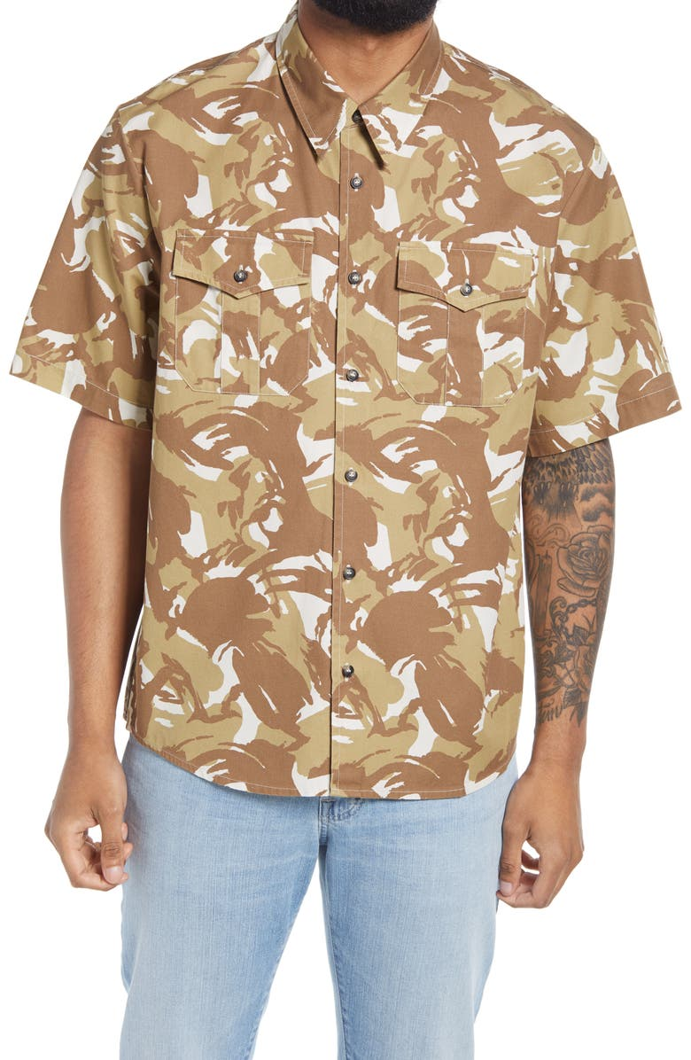 A.P.C. Joey Print Short Sleeve Button-Up Shirt, Main, color, SAND
