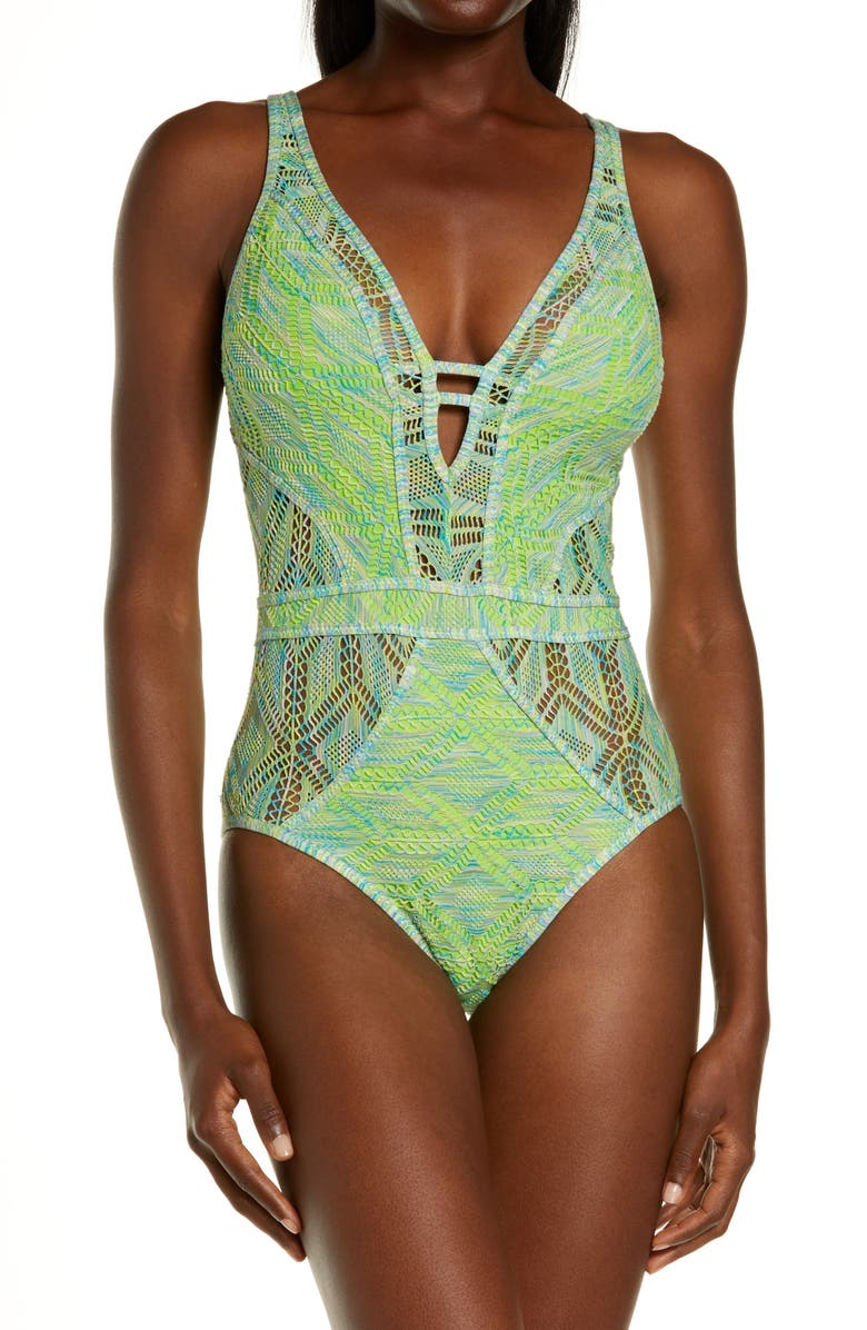 BECCA Mosaic Show & Tell One-Piece Swimsuit, Main, color, KIWI