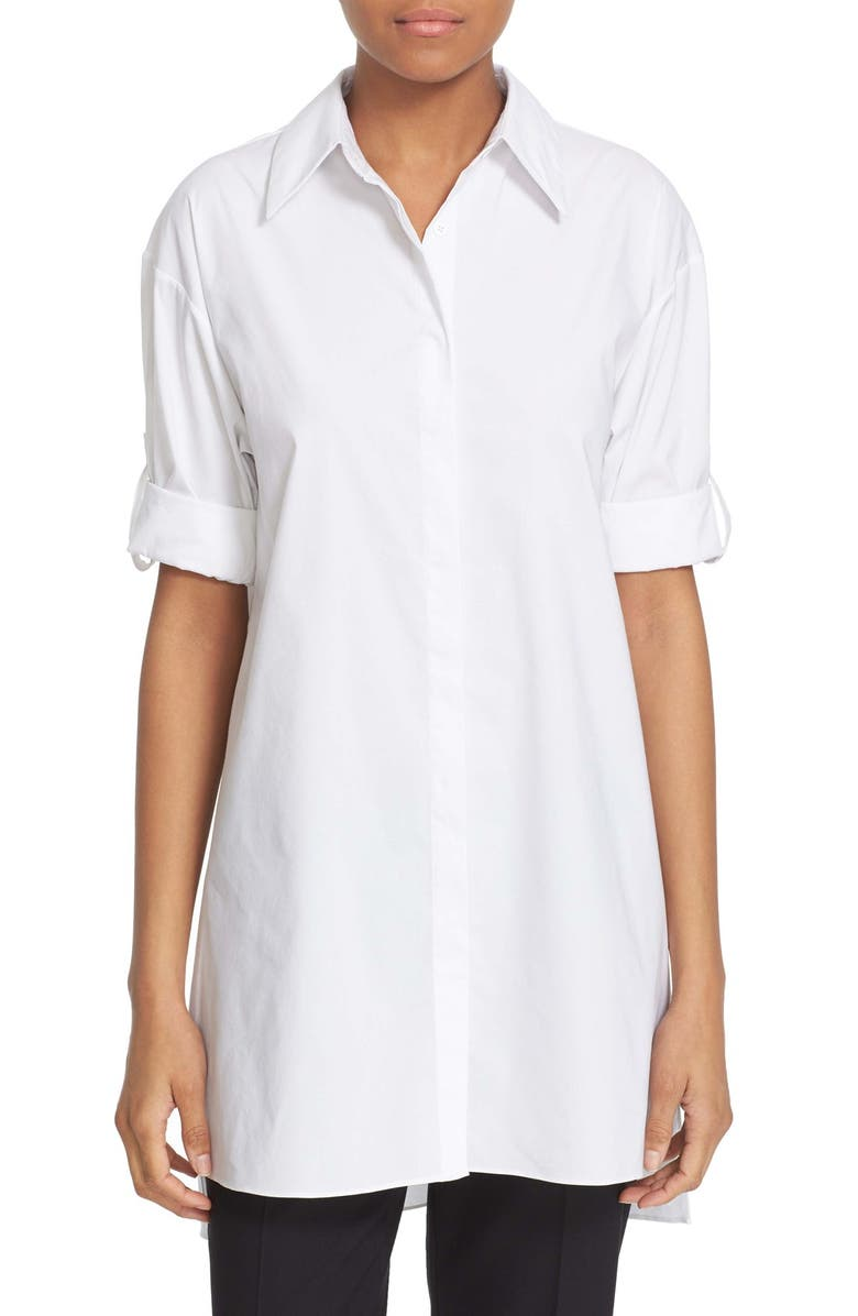ALICE + OLIVIA 'Camron' Collared Poplin Tunic, Main, color, 100