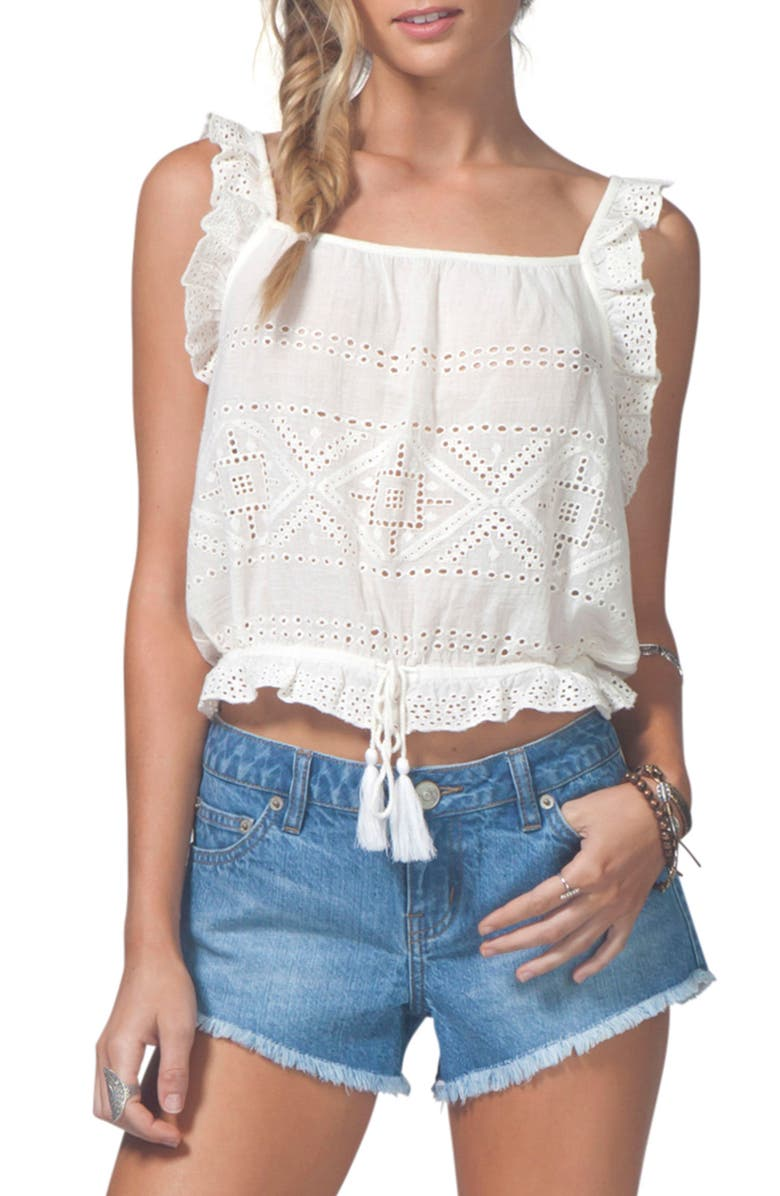 RIP CURL Penelope Eyelet Top, Main, color, White