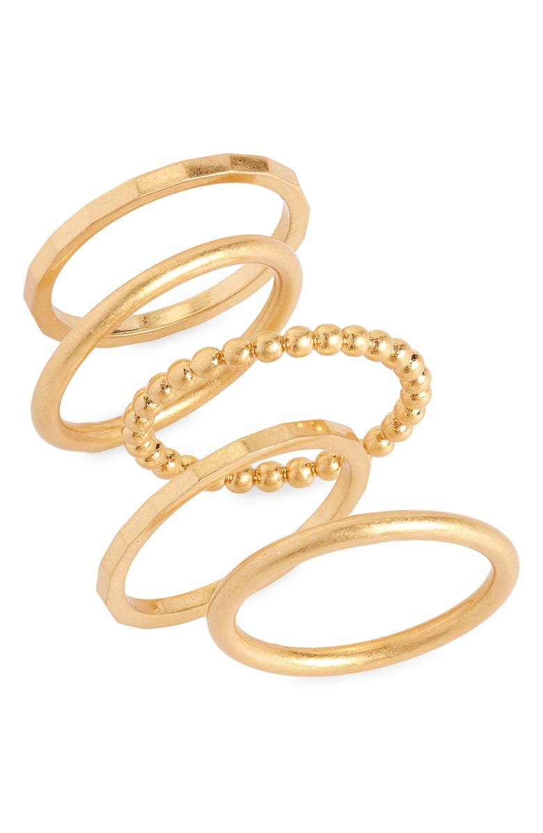 MADEWELL Simple Stacking Ring Set, Main, color, VINTAGE GOLD