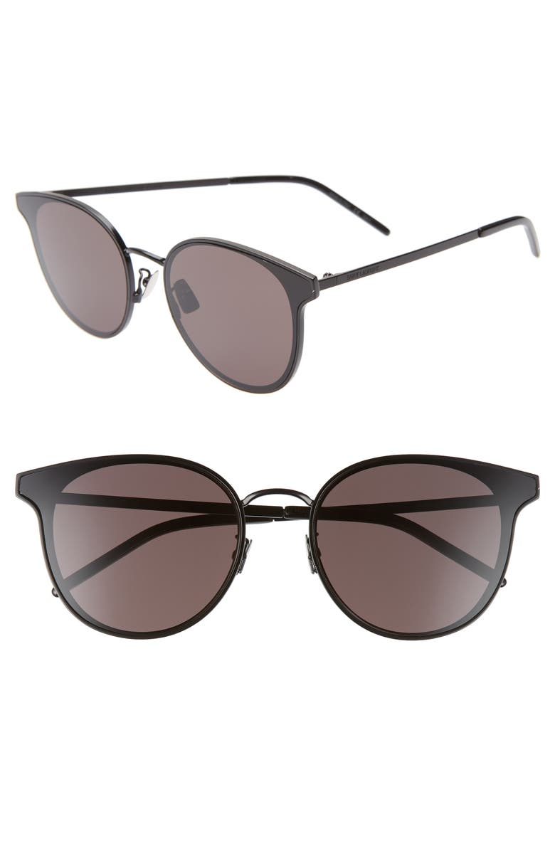 SAINT LAURENT 64mm Oversize Flat Front Round Sunglasses, Main, color, 001