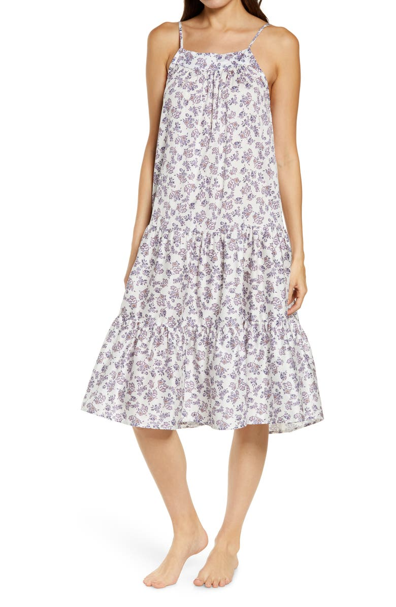 PAPINELLE Potager Floral Tiered Cotton Sateen Nightgown, Main, color, FLORAL
