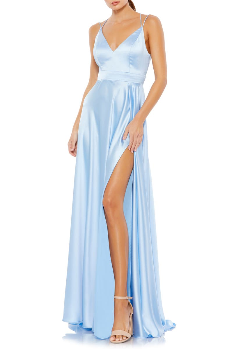 MAC DUGGAL Strappy Back Satin Gown, Main, color, POWDER BLUE