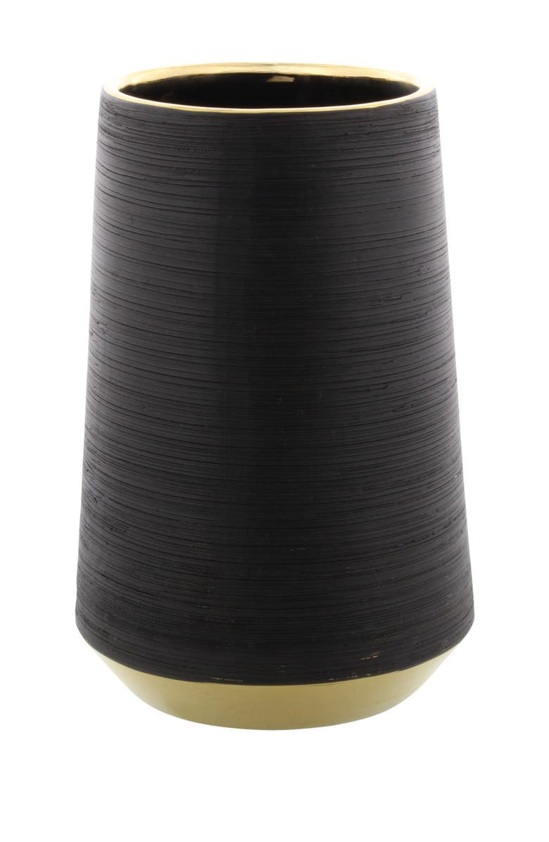 COSMO BY COSMOPOLITAN Tall Round Metallic Gold Rimmed Matte Black Ridged Porcelain Vase, Main, color, BLACK GOLD