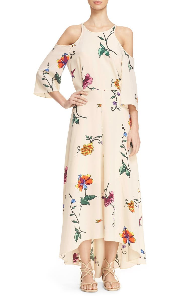 TIBI 'Bella' Floral Print Open Back Dress, Main, color, 265