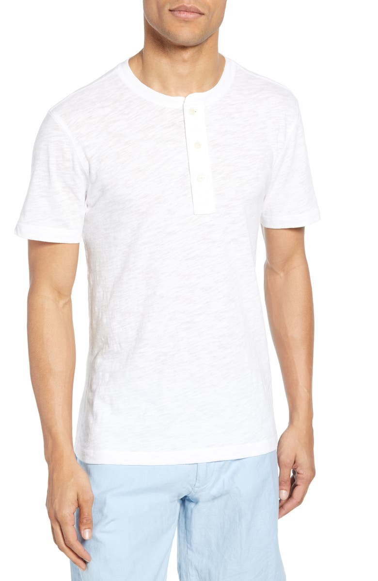 FAHERTY Short Sleeve Heathered Henley, Main, color, WHITE