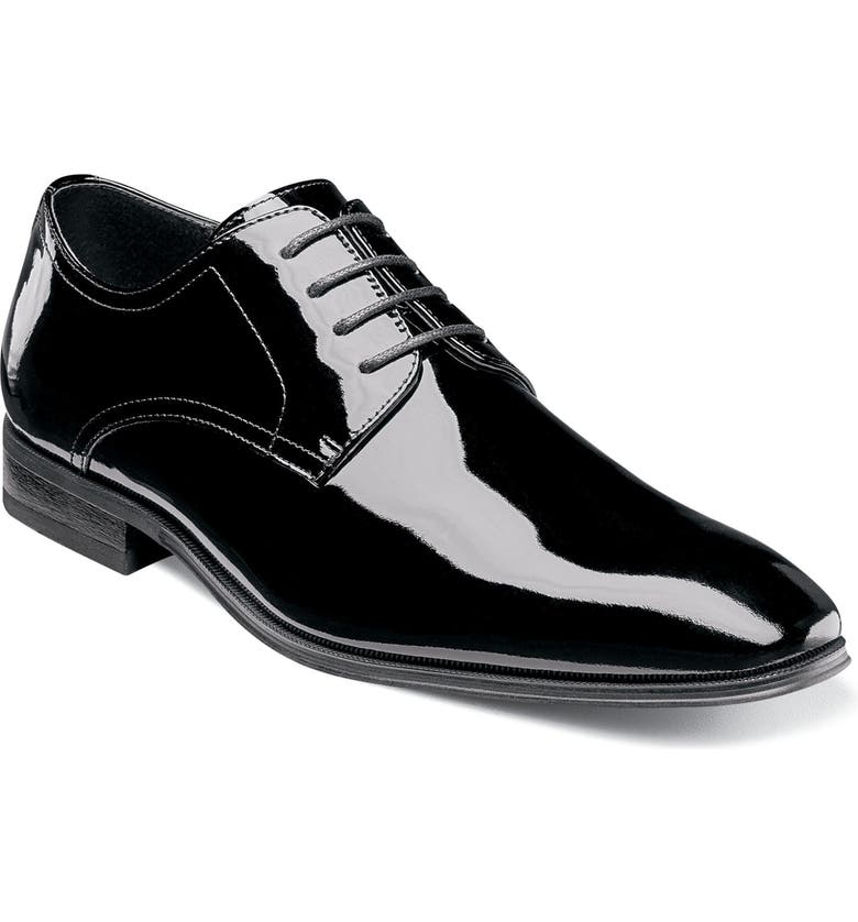 FLORSHEIM Tux Plain Toe Derby, Main, color, BLACK PATENT LEATHER
