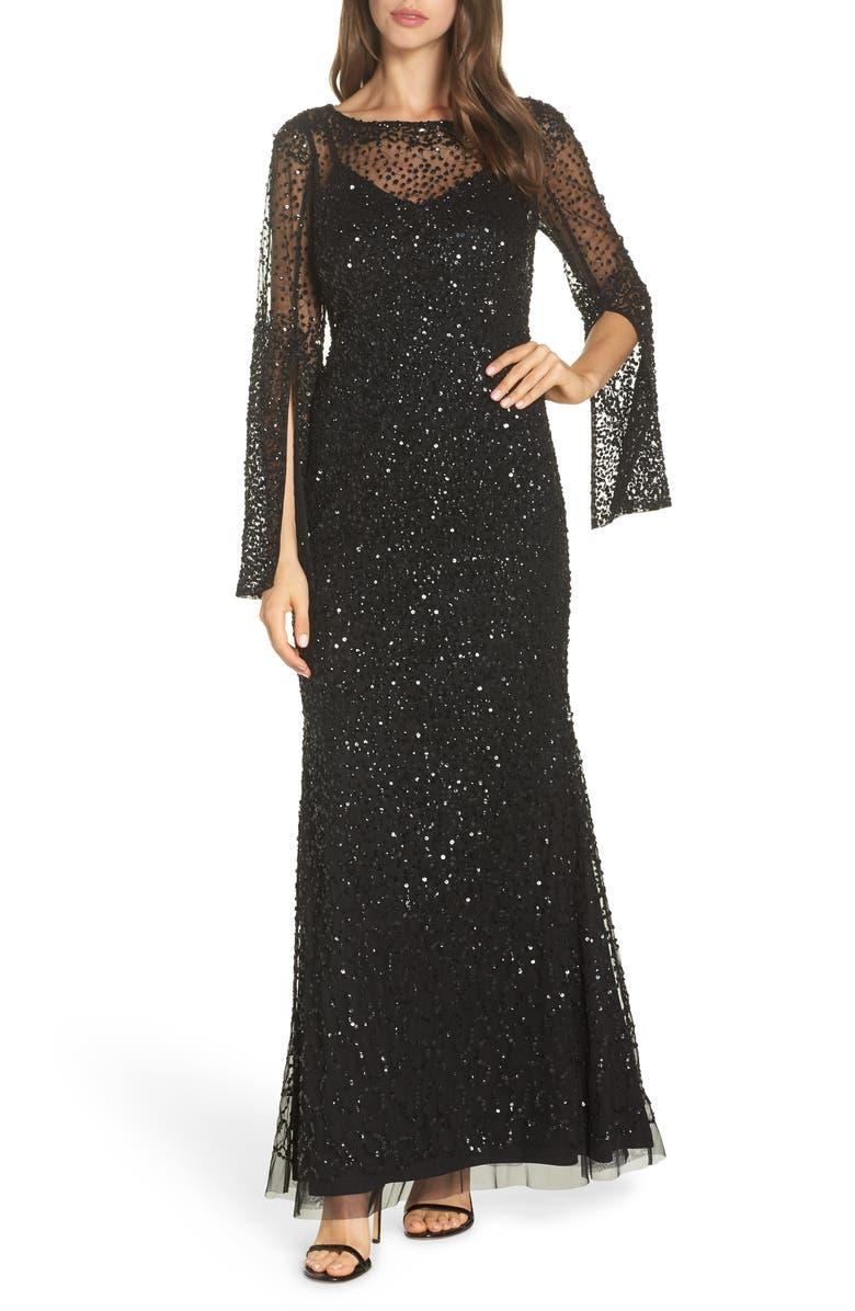 Adrianna Papell Sequin Beaded Split Cuff Gown Nordstrom