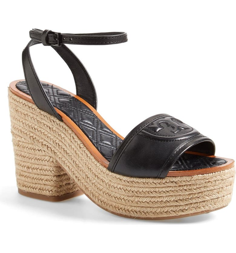TORY BURCH 'Marion' Quilted Platform Sandal, Main, color, 001