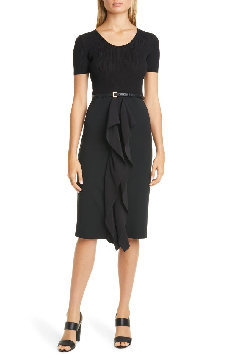 MAX MARA Rapace Belted Mock Two-Piece Dress, Main, color, 001