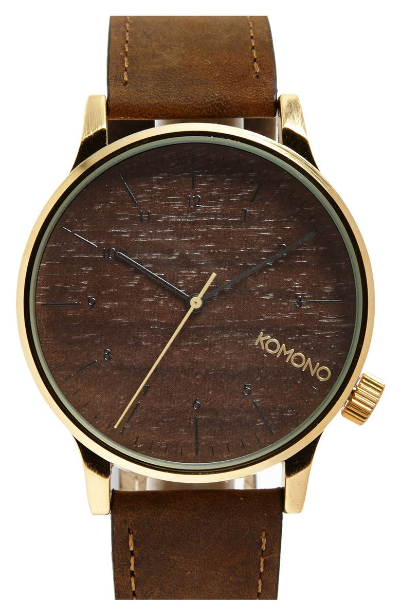 KOMONO 'Winston' Round Leather Strap Watch, 41mm, Main, color, GOLD WOOD