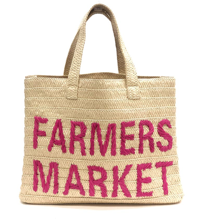 BTB LOS ANGELES Farmers Market Straw Tote, Main, color, NATURAL/ PINK