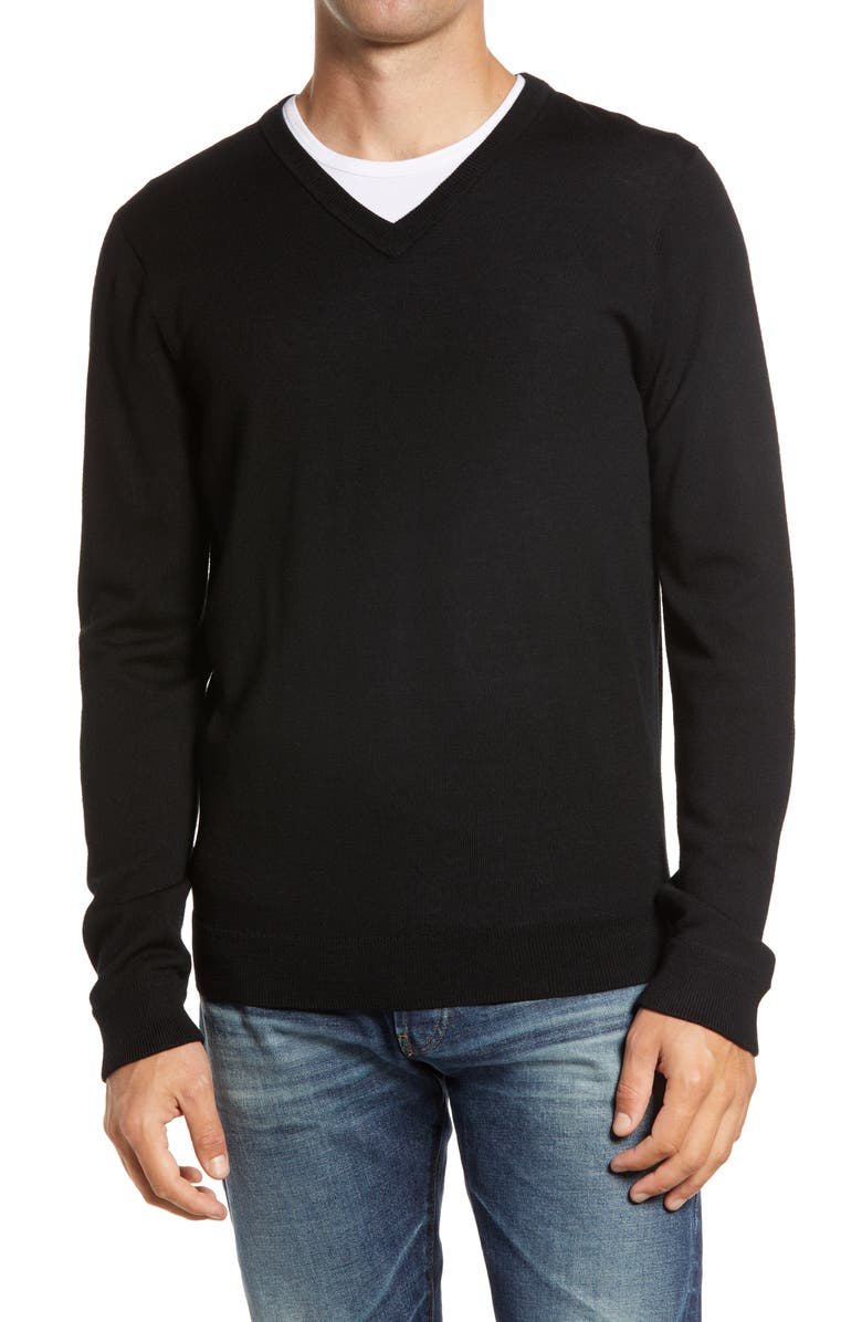 NORDSTROM Washable Merino V-Neck Sweater, Main, color, 001