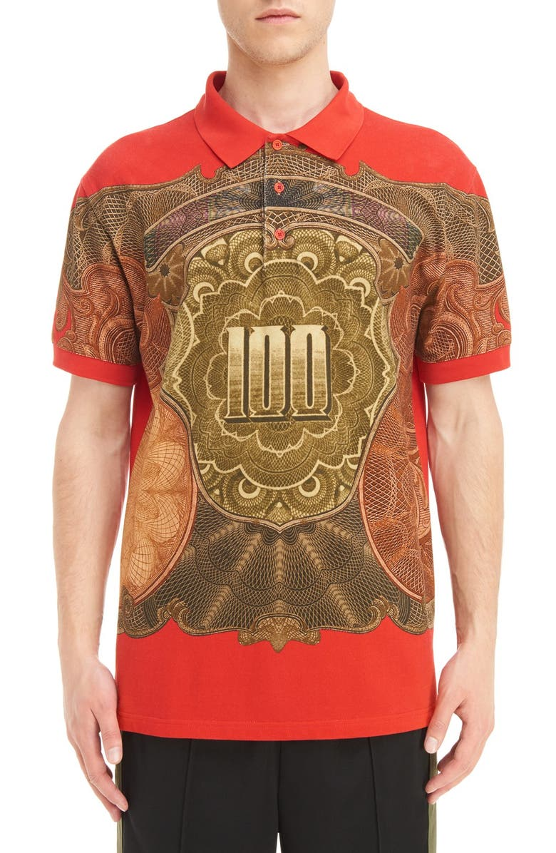 GIVENCHY Currency Print Polo, Main, color, 600
