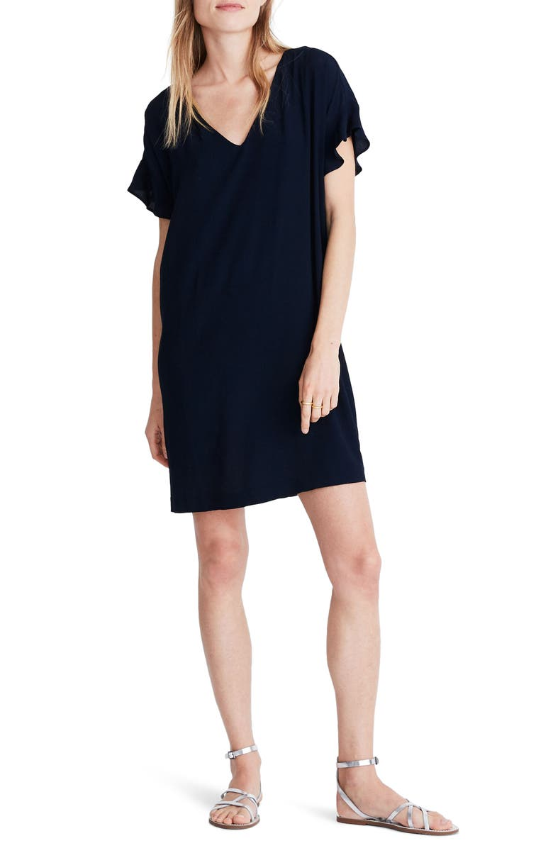 MADEWELL Ruffle-Sleeve Easy Dress, Main, color, 400