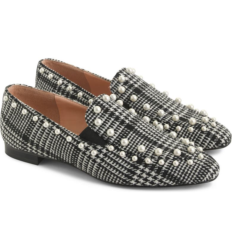 J.CREW J. Crew Pearl Studded Loafers in Glen Plaid, Main, color, 002