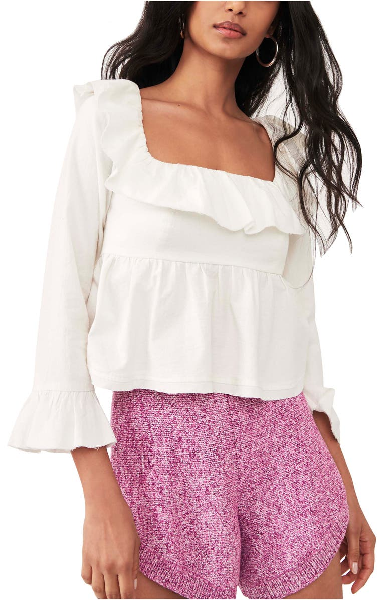 FREE PEOPLE Tulla Ruffle Tie Back Top, Main, color, IVORY