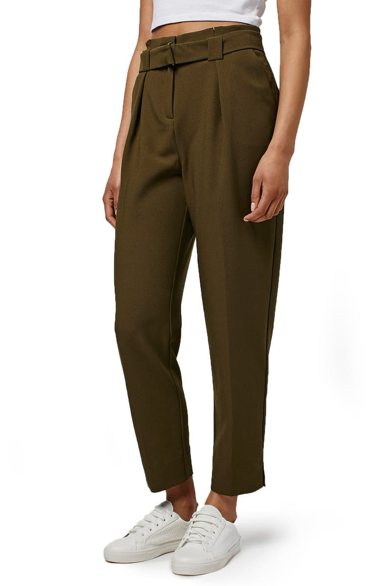 TOPSHOP Grosgrain Belted Peg Trousers, Main, color, 300