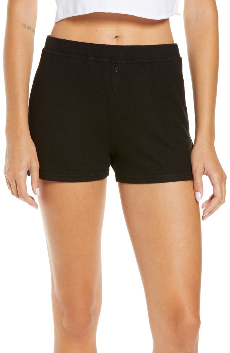 BP. Fitted Cozy Lounge Shorts, Main, color, 001