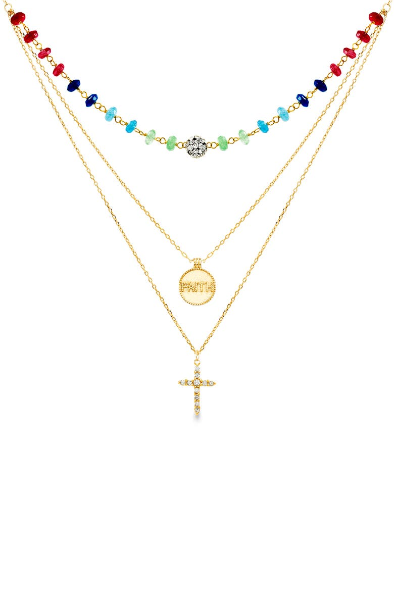 LESA MICHELE Crystal Cross Pendant Layered Necklace, Main, color, 710