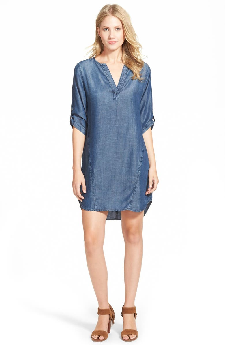 SIDE STITCH Three-Quarter Sleeve Chambray Shift Dress, Main, color, 404