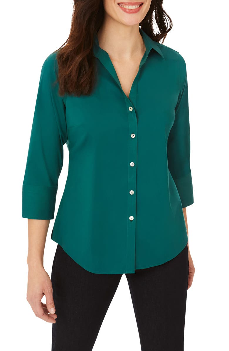 FOXCROFT Mary Button-Up Blouse, Main, color, EVERGREEN
