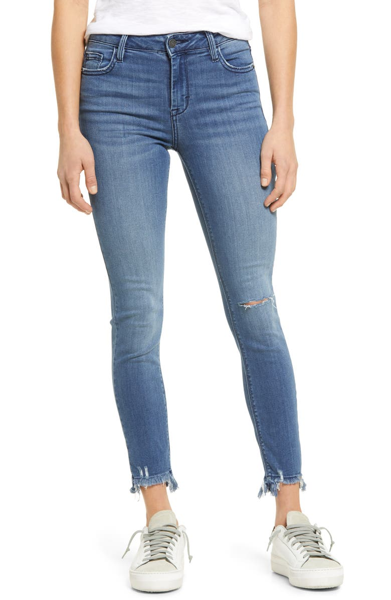 HIDDEN JEANS Ripped Stretch Ankle Skinny Jeans, Main, color, MEDIUM WASH