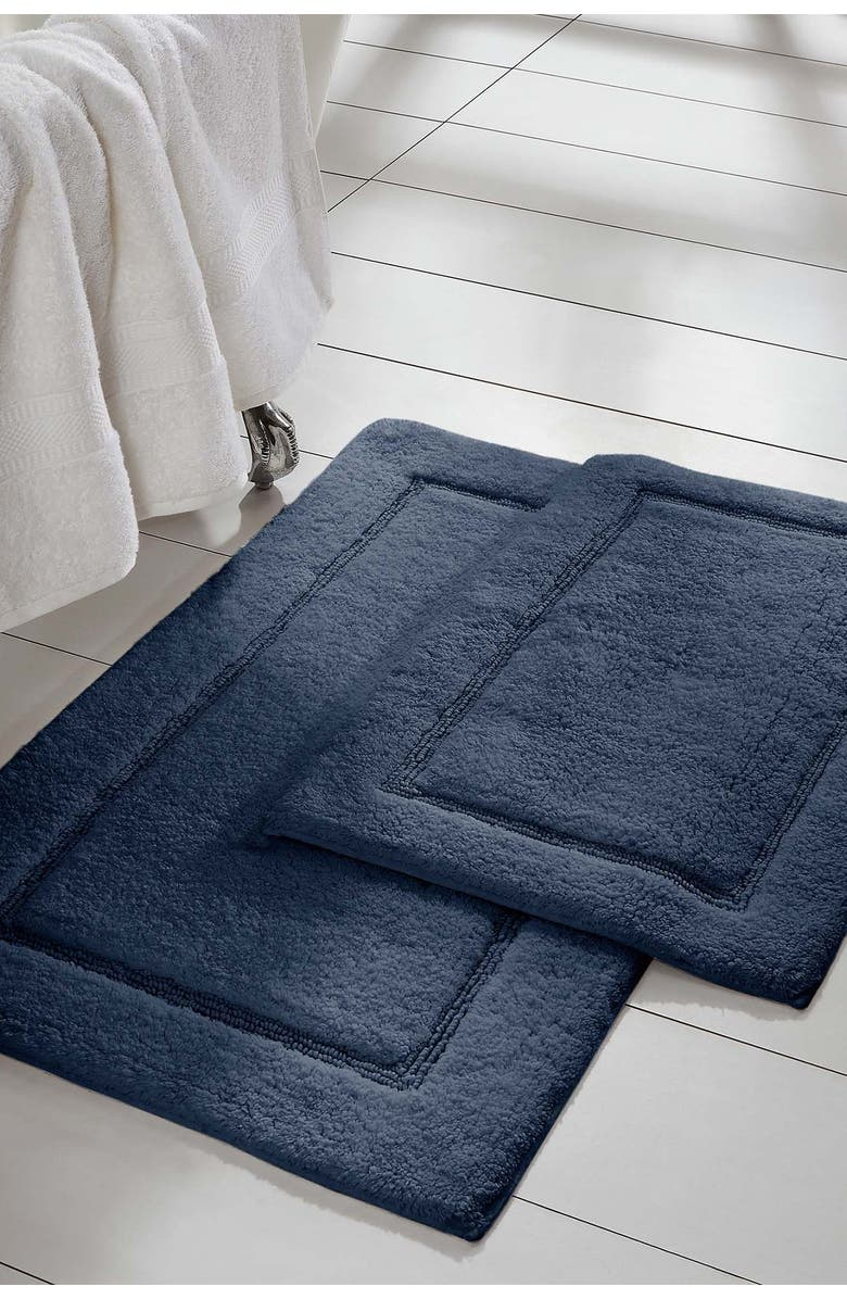MODERN THREADS 2-Piece Solid Loop with Non-Slip Backing Bath Mat Set - Navy, Main, color, NAVY