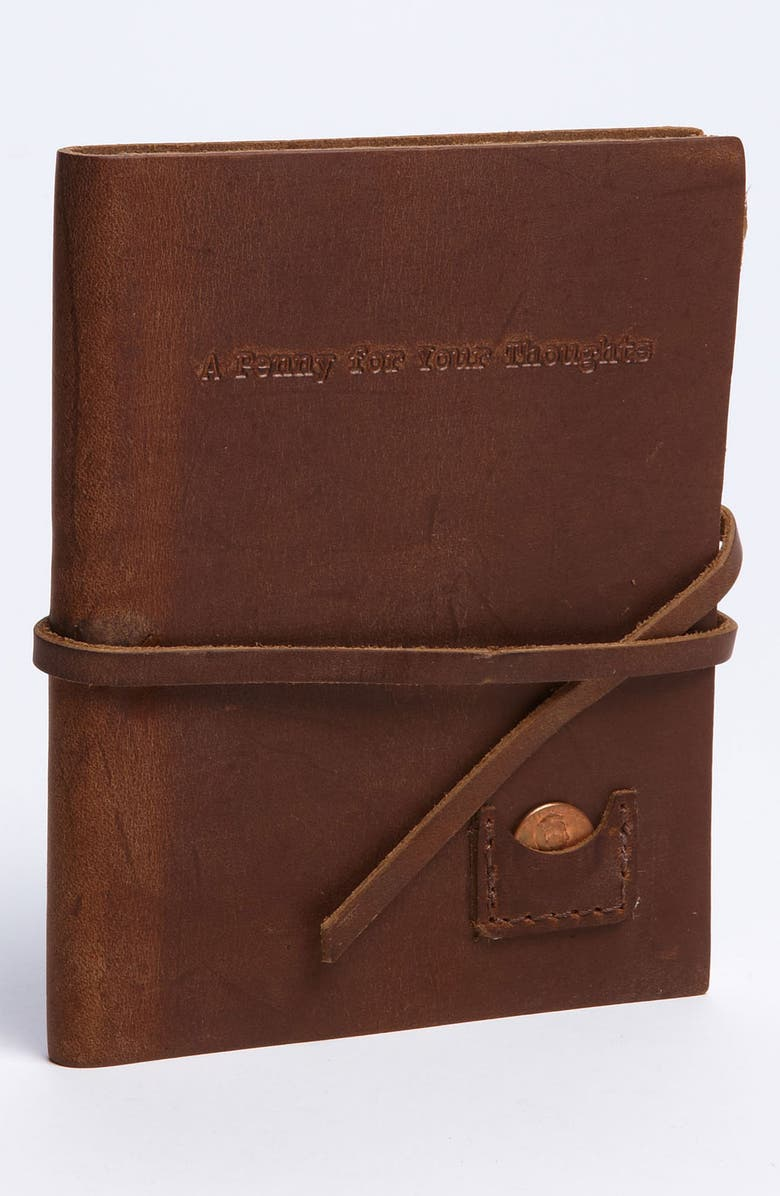 STUDIO PENNY LANE 'A Penny for Your Thoughts' Leather Journal, Main, color, 230
