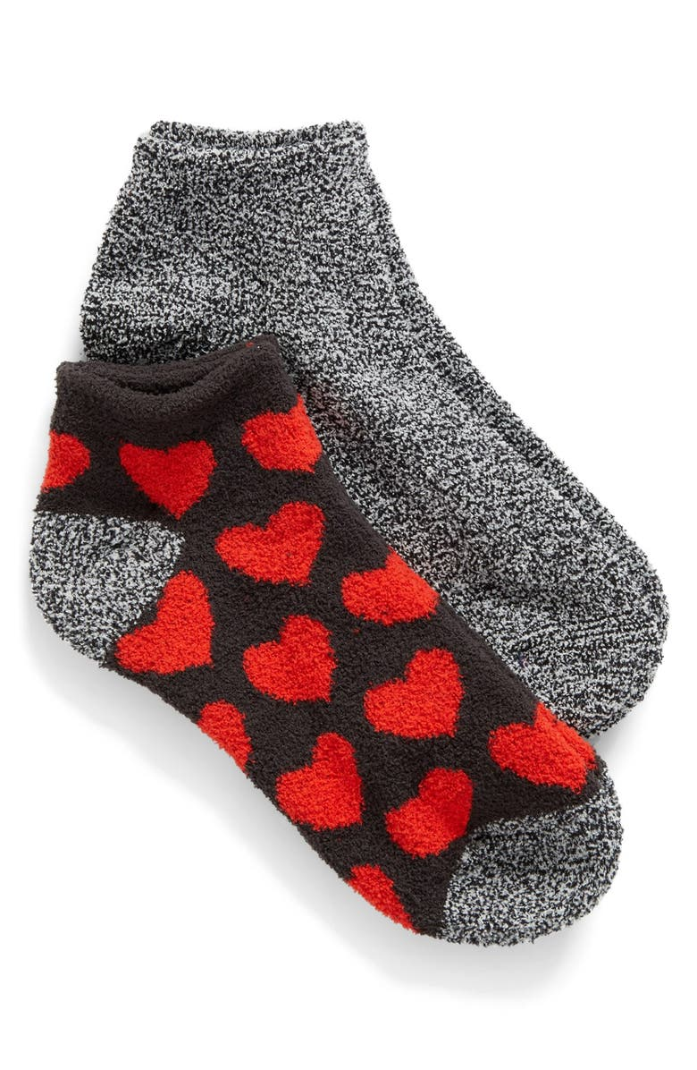 MAKE + MODEL Butter Ankle Socks, Main, color, BLACK LICORICE W/ RED HEARTS
