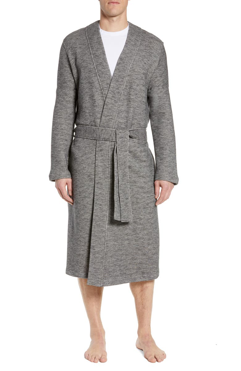 UGG<SUP>®</SUP> Kent Heathered French Terry Robe, Main, color, 001
