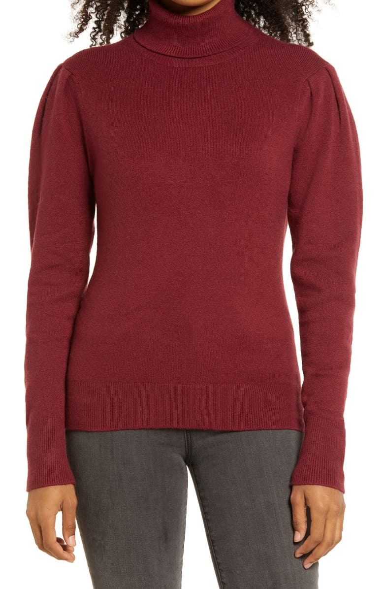 RACHEL PARCELL Rachell Parcell Puff Shoulder Turtleneck Sweater, Main, color, RED CORDAVAN