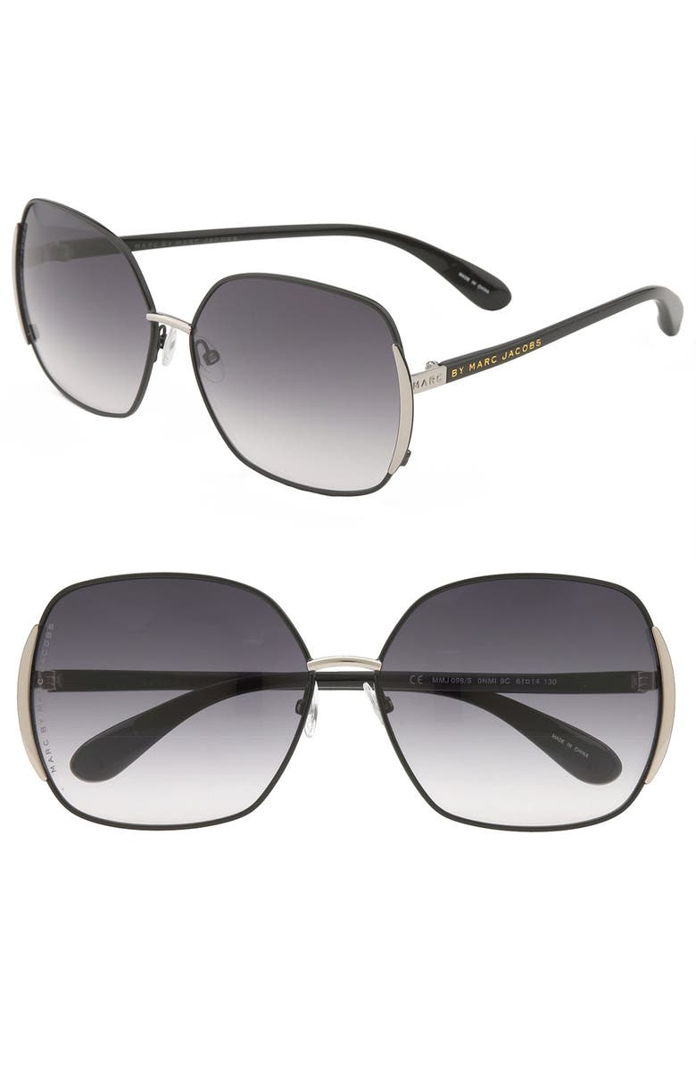 MARC BY MARC JACOBS 61mm Vintage Inspired Oversized Sunglasses, Main, color, 001
